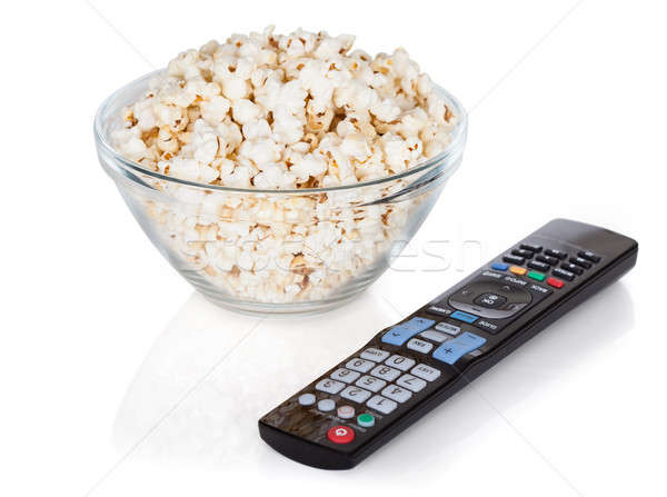 Close-up Of Remote Control And Bowl Of Popcorn Stock photo © AndreyPopov