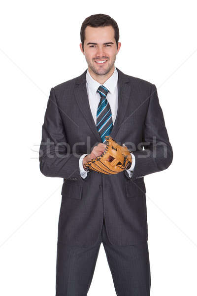 Competitive businessman with baseball glove Stock photo © AndreyPopov