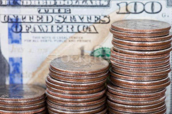 Pièce cent dollar Bill Finance Photo stock © AndreyPopov