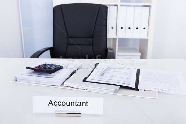 Accountant Name Plate On Desk Stock photo © AndreyPopov