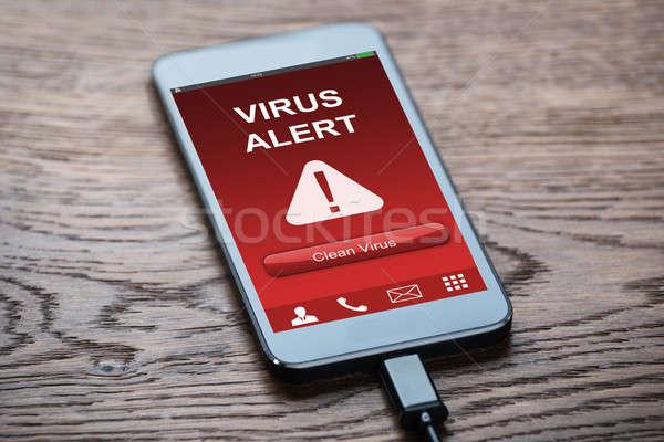 Stock fotó: Mobiltelefon · vírus · fertőzött · közelkép · takarítás · opció