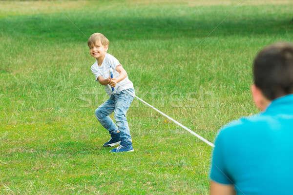 Kid giocare guerra felice corda Foto d'archivio © AndreyPopov