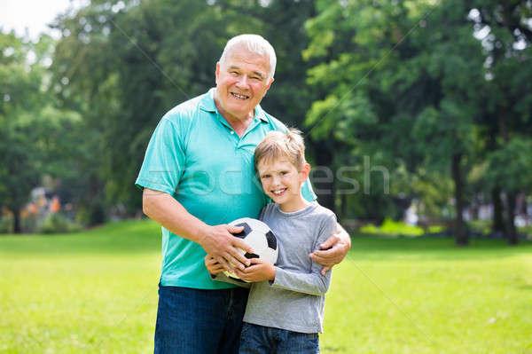 Unoka nagyapa játszik futball játék gyerek Stock fotó © AndreyPopov