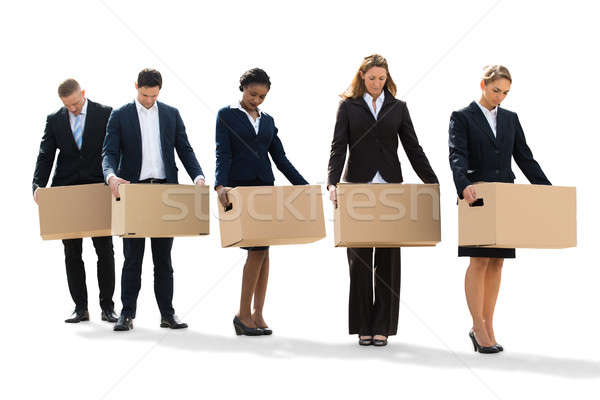 Disappointed Businesspeople Standing With Cardboard Boxes Stock photo © AndreyPopov