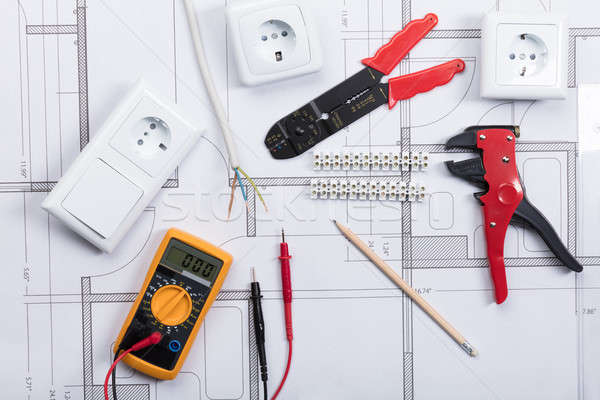 Electrical Instrument With Tools On A Blueprint Stock photo © AndreyPopov