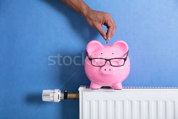Person's Hand Adjusting Thermostat Stock photo © AndreyPopov