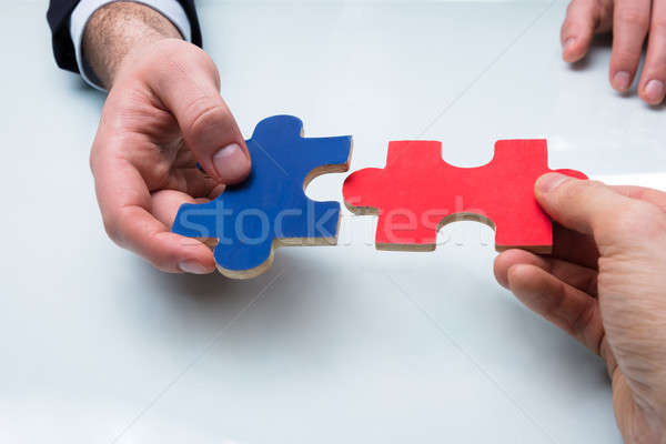 Two Businesspeople Holding Jigsaw Puzzle Stock photo © AndreyPopov