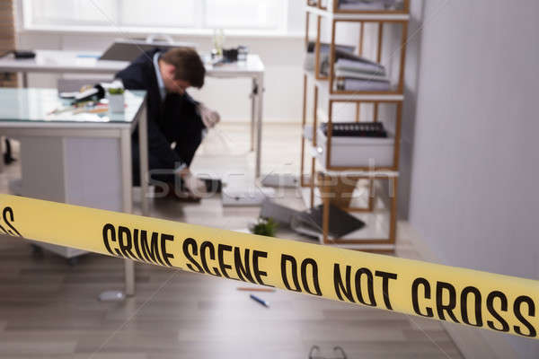 Close-up Of Yellow Crime Scene Tape Stock photo © AndreyPopov