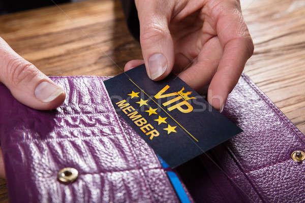 Vip kaart portemonnee hand Stockfoto © AndreyPopov