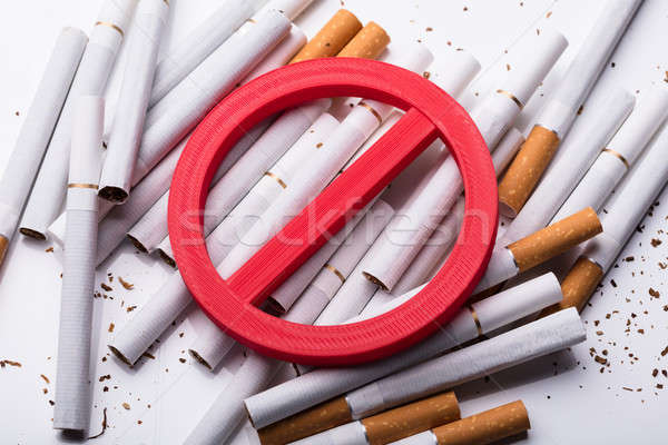 Elevated View Of Red No Sign On Cigarettes Stock photo © AndreyPopov