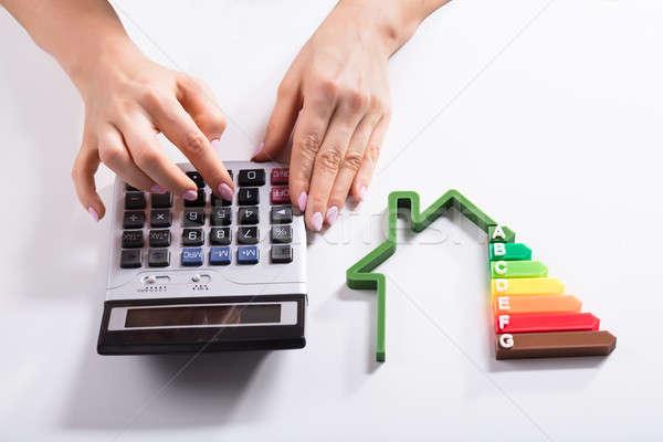Maison efficacité énergétique taux femme d'affaires Photo stock © AndreyPopov