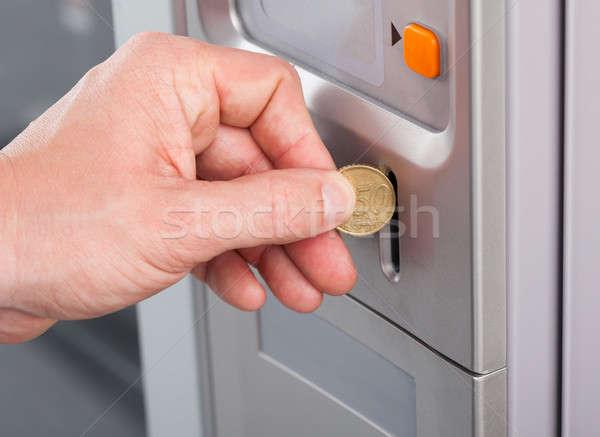 Menselijke hand munt automaat voedsel koffie Stockfoto © AndreyPopov