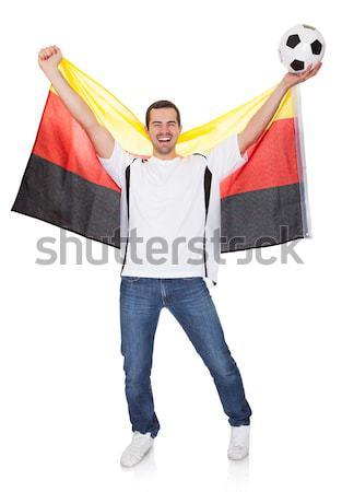肖像 幸せ 男 スペイン国旗 孤立した ストックフォト © AndreyPopov
