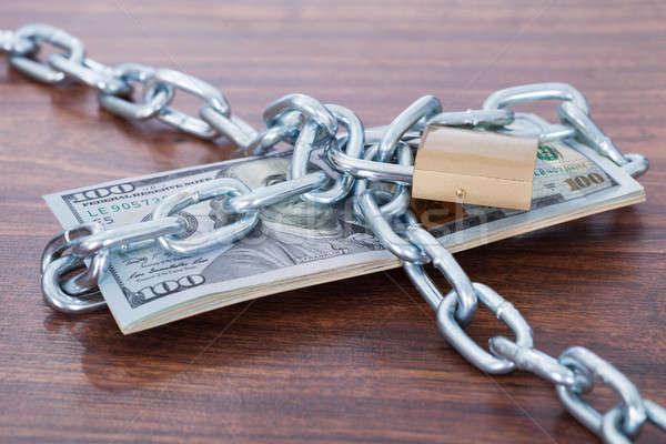 łańcucha kłódki tabeli sto Dolar Zdjęcia stock © AndreyPopov