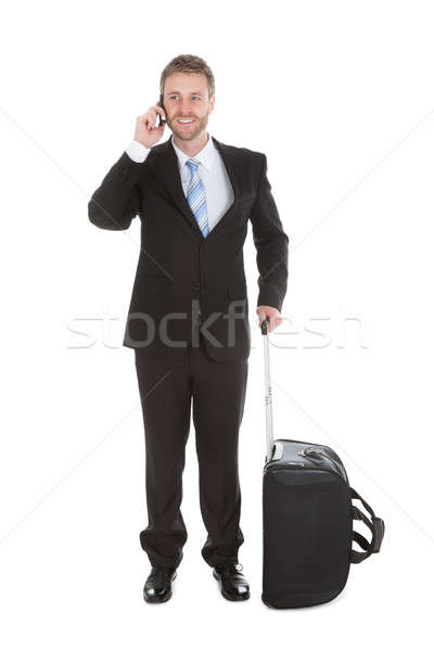 Businessman With Luggage Answering Cell Phone Stock photo © AndreyPopov