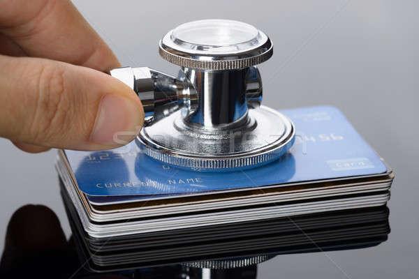 Сток-фото: стетоскоп · кредитные · карты · стороны