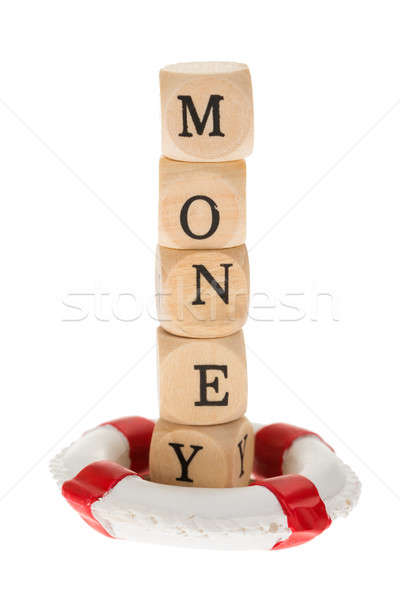 Word Money On Wooden Piece With Life Belt Stock photo © AndreyPopov