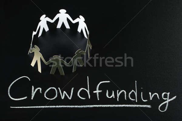 Travail d'équipe mot écrit tableau noir argent foule Photo stock © AndreyPopov