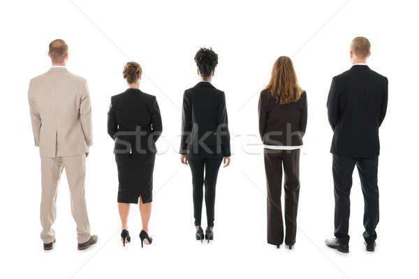 Zdjęcia stock: Zespół · firmy · stałego · biały · widok · z · tyłu · działalności