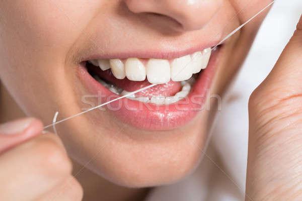 Сток-фото: женщину · зубов · домой · женщины