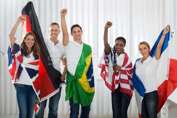 Friends With Flags From Different Nations Stock photo © AndreyPopov