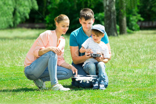 Family Flying Drone In The Park Stock photo © AndreyPopov