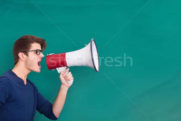 человека объявление мегафон молодым человеком доске рот Сток-фото © AndreyPopov