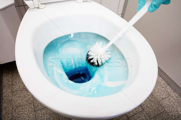 Person Cleans A Toilet With A Scrub Brush Stock photo © AndreyPopov