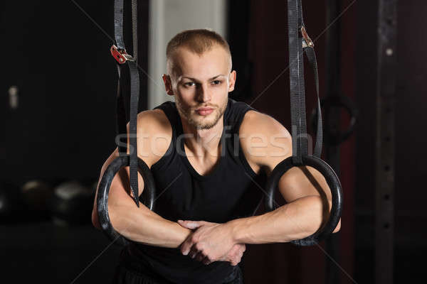 Male Athlete With Gymnastic Rings Stock photo © AndreyPopov