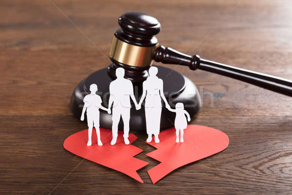 Family Paper Cut On Broken Heart With A Gavel Stock photo © AndreyPopov