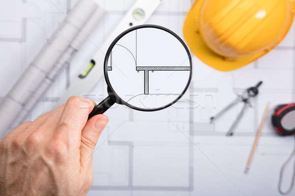 Foto stock: Engenheiro · arquitetônico · diagrama · lupa