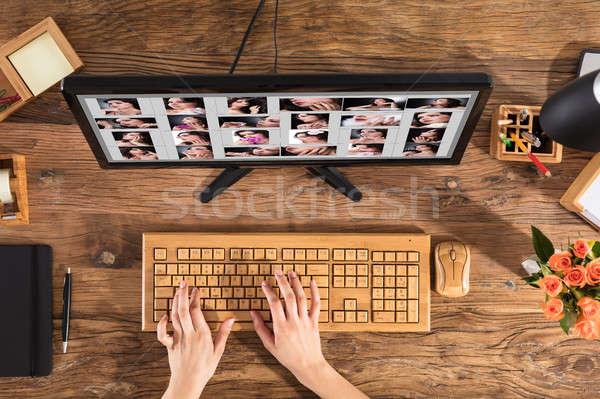 Foto stock: Feminino · estilista · trabalhando · computador · teclado