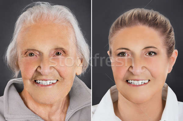 Multiple image vieillissement processus femme souriante Photo stock © AndreyPopov