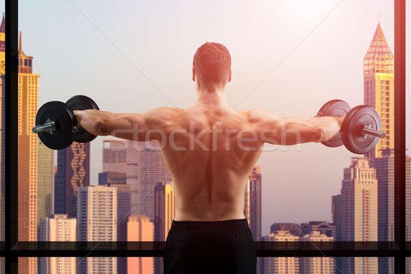 Photo stock: Musculaire · homme · torse · nu · permanent