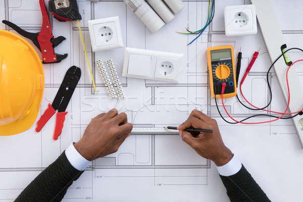 Architect tekening plan blauwdruk elektrische Stockfoto © AndreyPopov