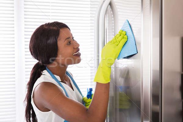 Mujer limpieza acero inoxidable refrigerador feliz jóvenes Foto stock © AndreyPopov