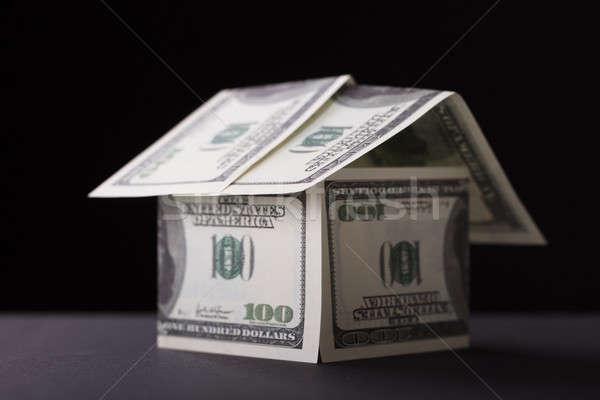 дома вверх банкнота черный бумаги Сток-фото © AndreyPopov
