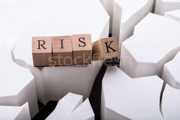 Elevated View Of Wooden Block With Risk Text Stock photo © AndreyPopov