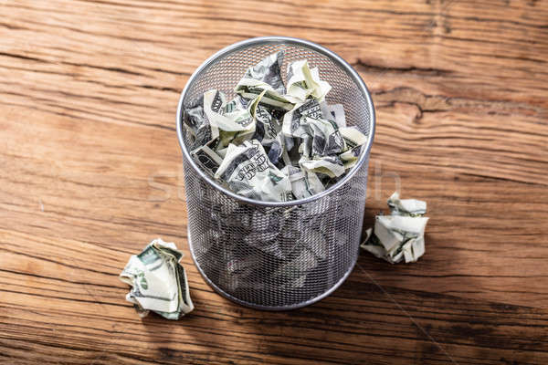 Bank Notes In Dustbin Stock photo © AndreyPopov