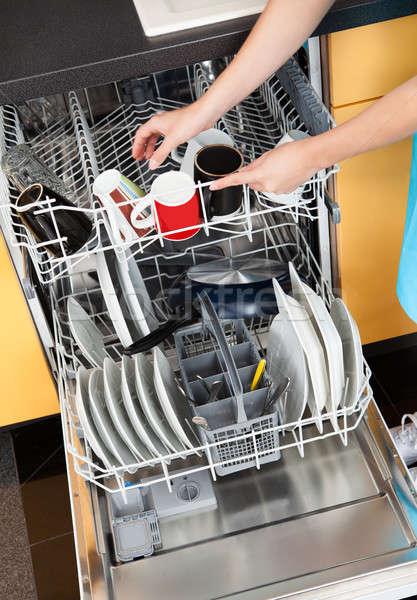 Kadın bulaşık bulaşık makinesi mutlu temizlik Stok fotoğraf © AndreyPopov