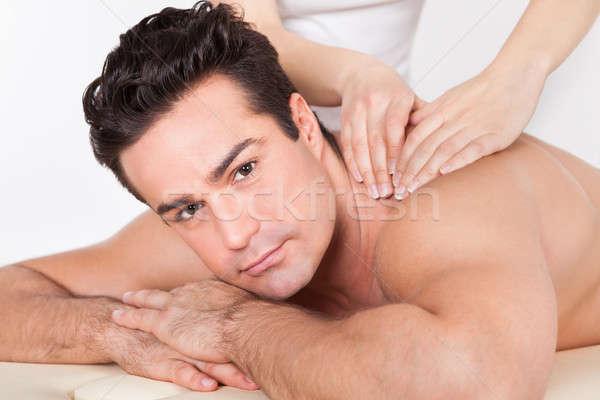 Uomo trattamento termale a torso nudo fronte sorriso faccia Foto d'archivio © AndreyPopov