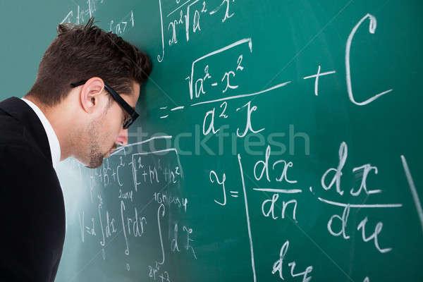 教授 頭 黒板 側面図 悲しい ストックフォト © AndreyPopov