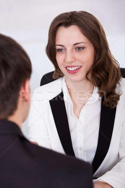 üzletasszony néz jelölt interjú gyönyörű férfi Stock fotó © AndreyPopov