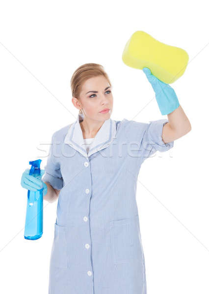 Mutlu hizmetçi temizlik sıvı sünger Stok fotoğraf © AndreyPopov