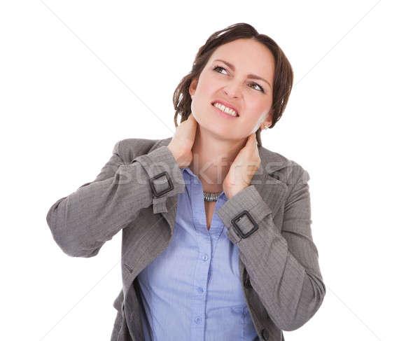 Mujer de negocios sufrimiento dolor de cuello retrato jóvenes blanco Foto stock © AndreyPopov
