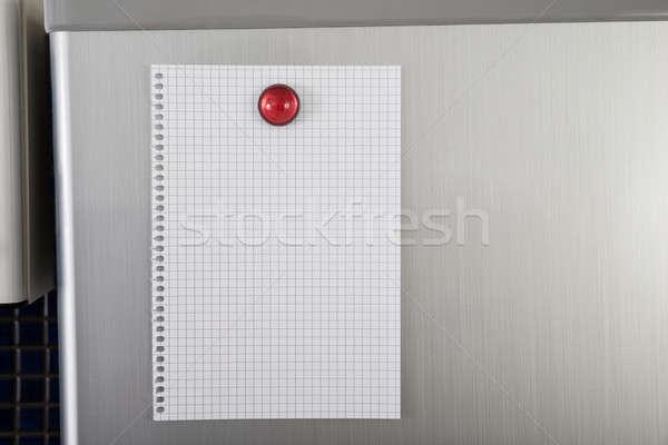 Stock photo: Blank Paper On Refrigerator Door