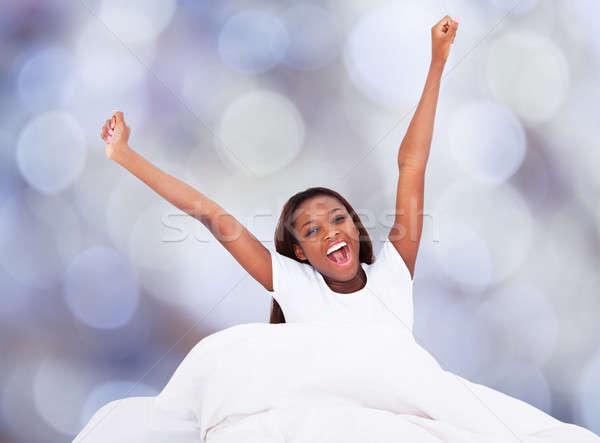 Mulher cama retrato mulher jovem Foto stock © AndreyPopov