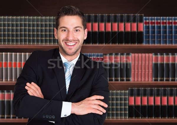 Ritratto felice maschio avvocato scaffale mano Foto d'archivio © AndreyPopov