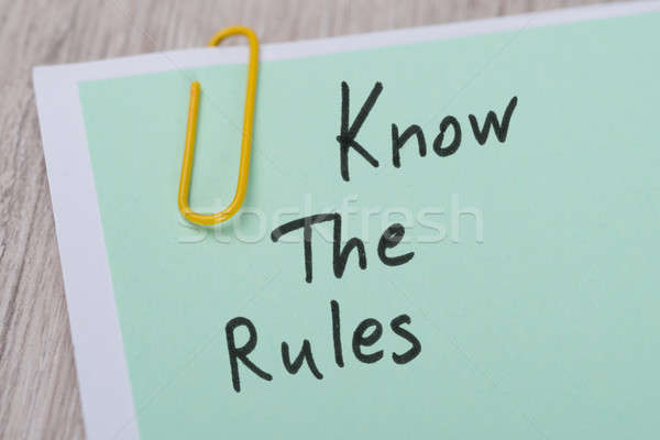 Know The Rules ! Written On Green Note Stock photo © AndreyPopov