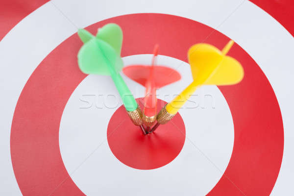 Darts On Red And White Target Stock photo © AndreyPopov